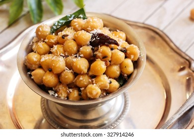Chick pea sundal - Traditional festival food of India, selective focus