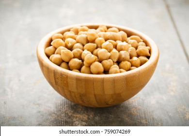 Chick peas served in a wooden bowl