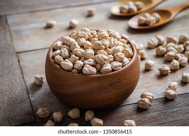 Chick peas in wooden bowl