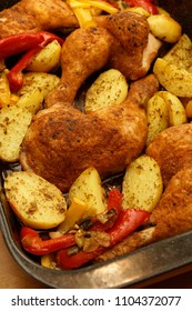 Chicken baked with vegetables