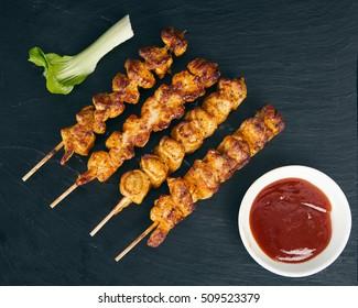 Chicken barbeque on wooden skewer, satay