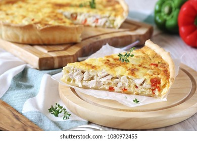 Chicken and bell pepper quiche, french cuisine