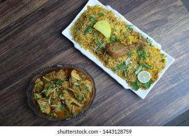 chicken biryani and chicken qorma