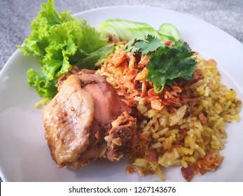 Chicken Biryani with rice and salad
