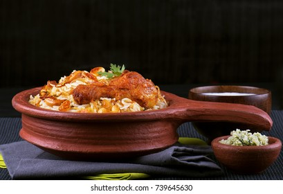 Chicken biryani in traditional clay pot