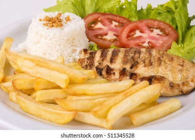 Chicken Breast Fillet with French Fries, Rice and Salad