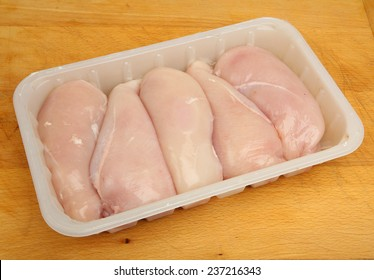 Chicken breast fillets in white plastic packaging tray.
