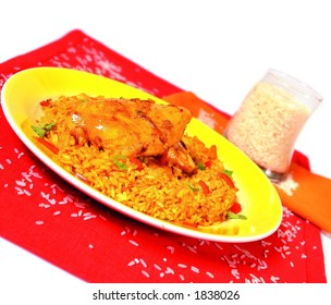 Chicken breast with rice called arroz con pollo