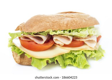 chicken breast sandwich on white background