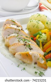 Chicken breast with vegetables and sauce
