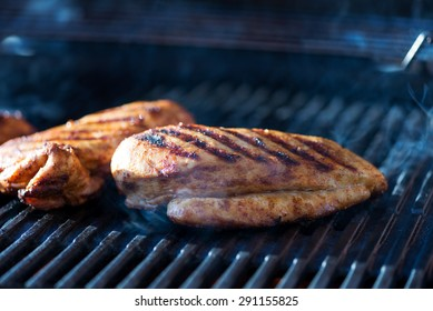 Chicken breasts on a grill, real picture