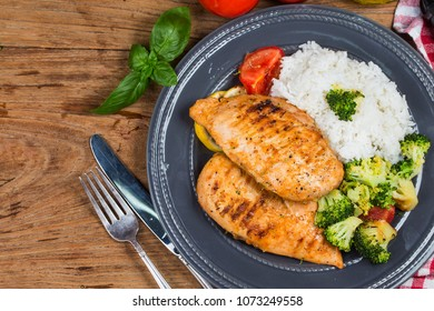 Chicken breasts and rice