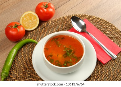 Chicken Broth Soup with Garlic and Parsley