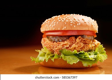 chicken burger burger on the table