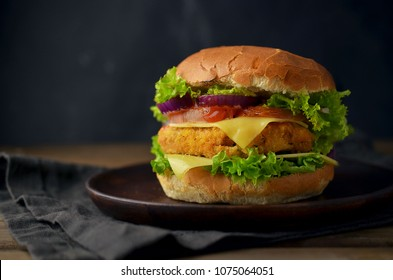 Chicken burger with vegetables