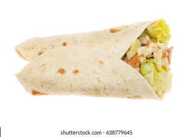 Chicken Caesar salad wrap isolated against white