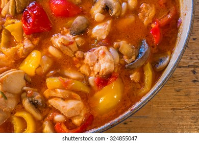 chicken casserole in cooking pot