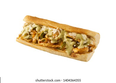 Chicken and Cheese Baguette with peppers