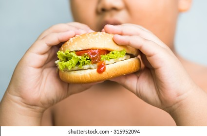 chicken cheese Hamburger in obese fat boy hand