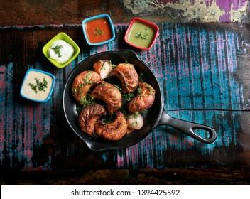 Chicken or Chickrn Tandoori Momos, Chicken Dish served on pan