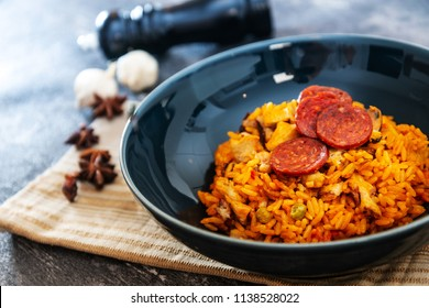 Chicken and chorizo paella with Mussels