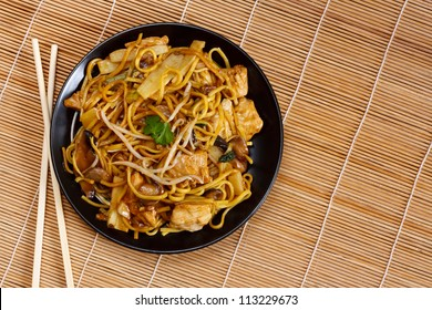 Chicken chow mein a popular oriental dish available at chinese restaurants