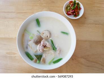 Chicken in coconut milk and galangal, favorite thai food menu, health food concept
