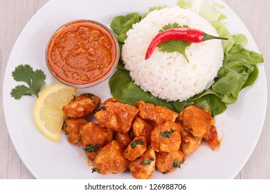chicken cooked with red curry