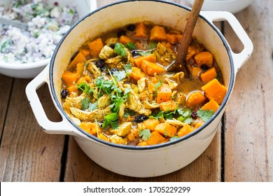 Chicken with cumin, turmeric and coriander with sweet potatoes