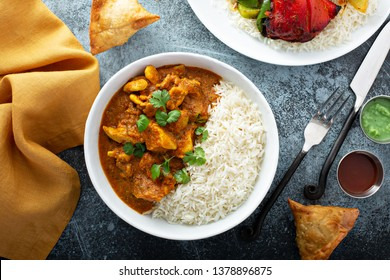 Chicken curry with jasmine rice, indian food concept
