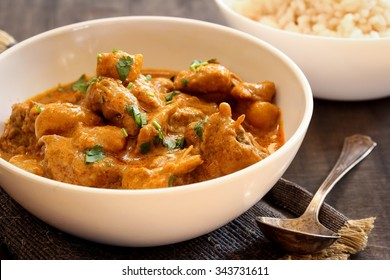 Chicken curry with potatoes, selective focus