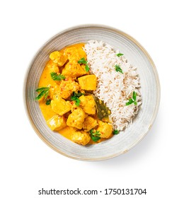 Chicken curry with rice - traditional indian food isolated on white background