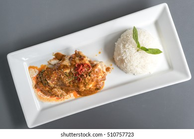 Chicken Curry thai food red sauce with rice.
