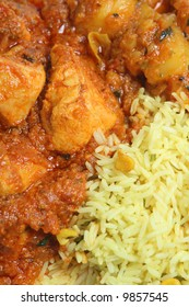 Chicken curry with vegetable and lemon rice