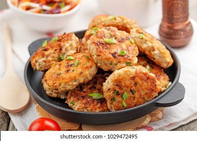 Chicken cutlets in frying pan.