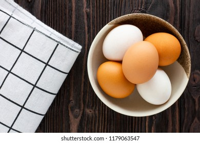 Chicken and Duck Eggs in the bowl.