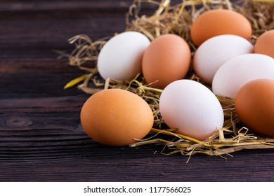 Chicken and Duck Eggs on the hay.