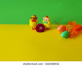Chicken with Easter eggs, daisy