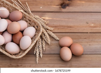 Chicken egg on a wooden background. Healthy eating