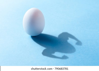 Chicken egg is rich in natural protein for muscle growth. The egg casts a shadow with the hands of the bodybuilder with the bicep. Blue background