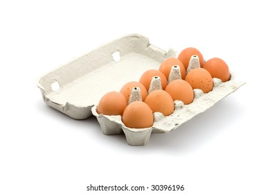 chicken eggs in box studio isolated