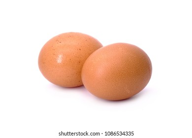 Chicken eggs : Brown color shell Organic eggs, biosecurity. Isolated on white background