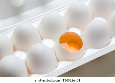 Chicken eggs in the cassette box on a white background