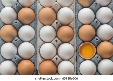 Chicken eggs in the cell egg tray