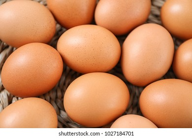 Chicken eggs, closeup