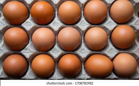 Hühnereier im Behältnis