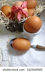Chicken eggs. Easter theme - Selective focus