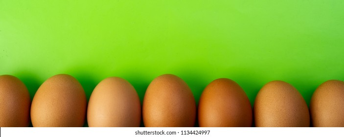 Chicken eggs lie in a line against a green background. The Feast of Easter. Place for text. Easter greeting card. Horizontal banner.