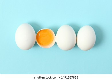 chicken eggs on a colored background. Farm products, natural eggs.