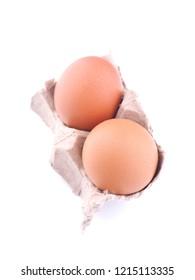 chicken eggs on white background